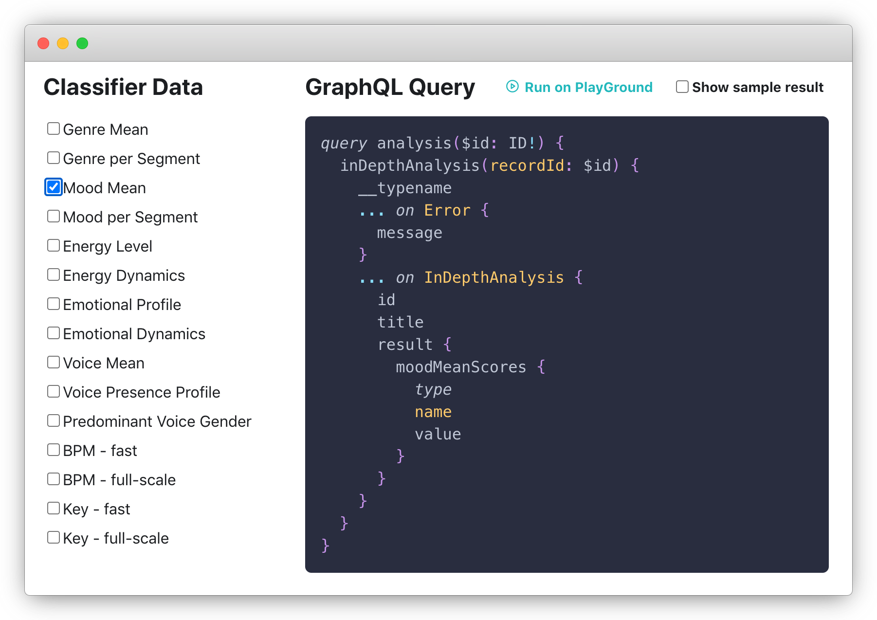 Screenshot: Query Builder